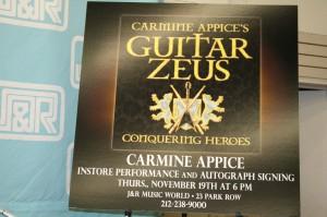 Carmine Appice J&R Music World Event Sign