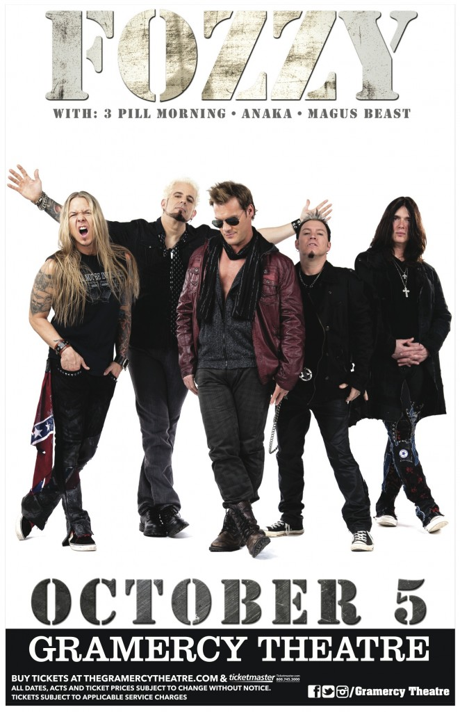Poster - Fozzy at Gramercy Theatre - 2014