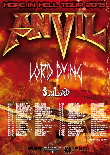Tour - Anvil - US Hope In Hell 2015