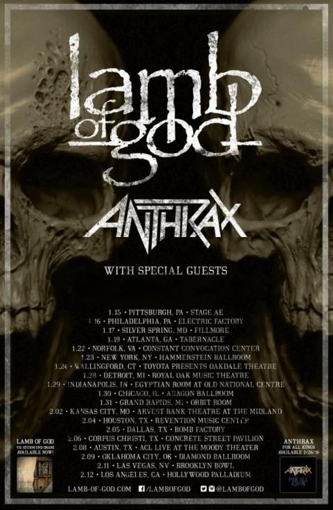 Tour - Lamb Of God w Anthrax - 2016