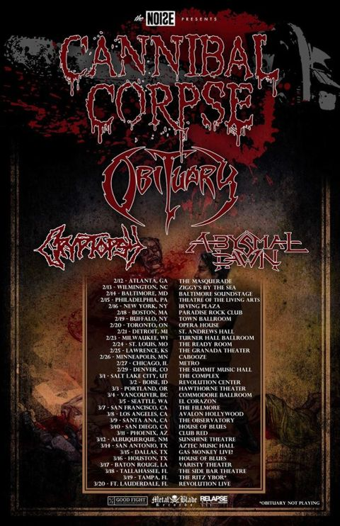 Tour - Cannibal Corpse - 2016