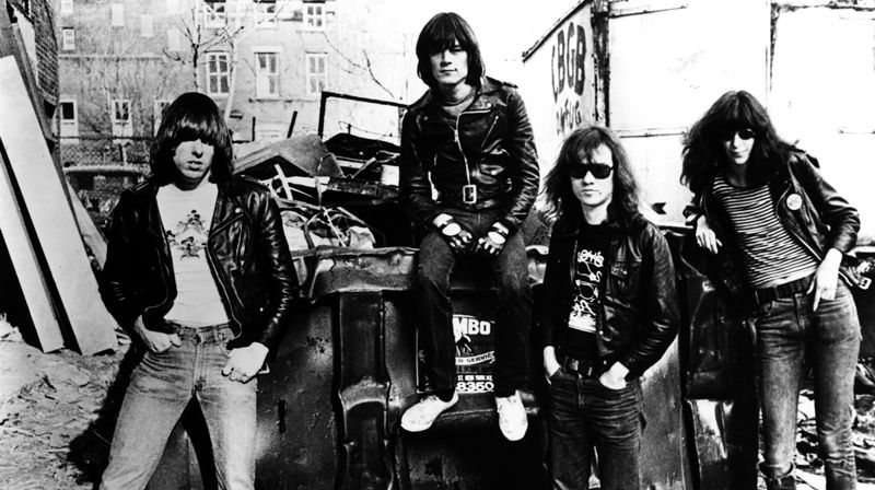 The Ramones in alley behind CBGB, 1977 (Danny Fields)