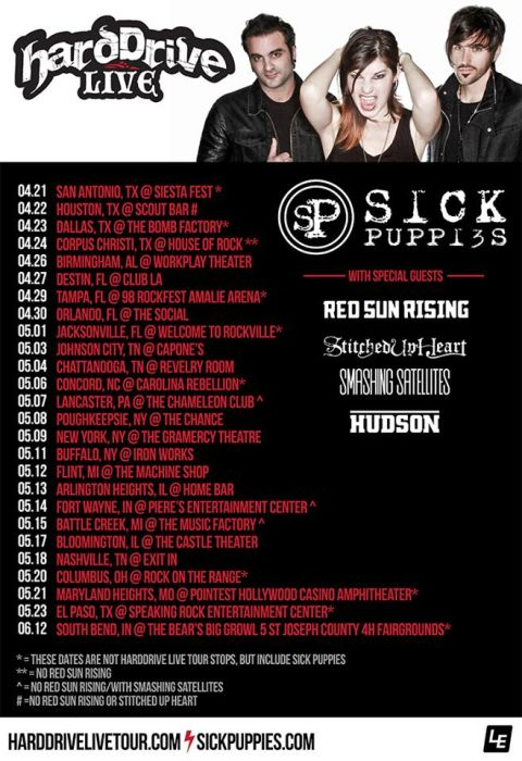 Tour - Sick Puppies - Hard Drive Live - 2016