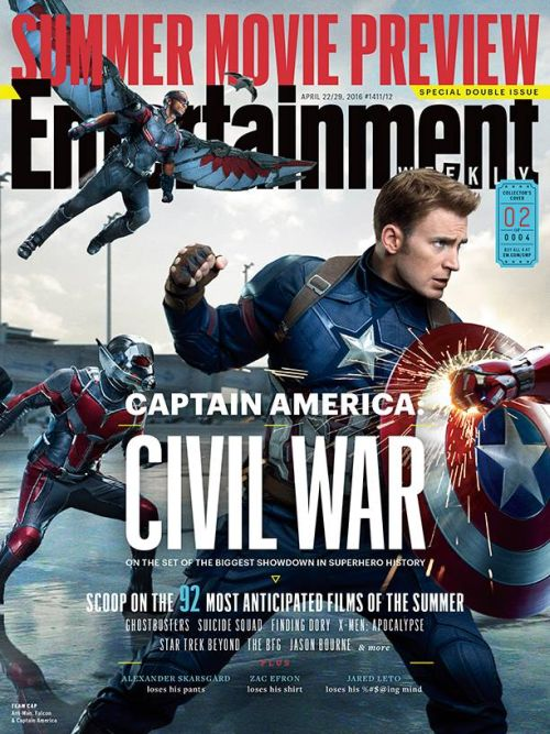 entertainment weekly magazine, summer preview 2016, captain america: civil war covers