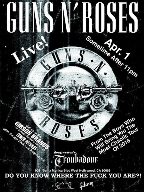 Poster - Guns N Roses - Troubadour 2016