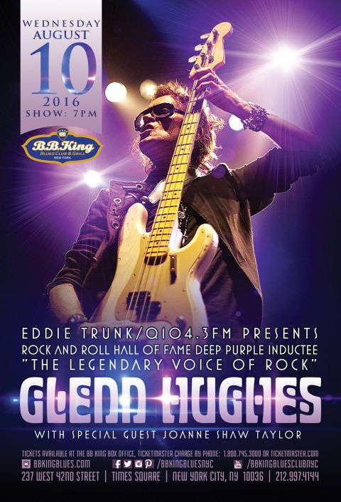 glenn hughes and life event Glenn hughes, former bass player of deep purple and rock n roll hall of fame member, is to tour the uk in october 2018, performing material by the classic rock band.