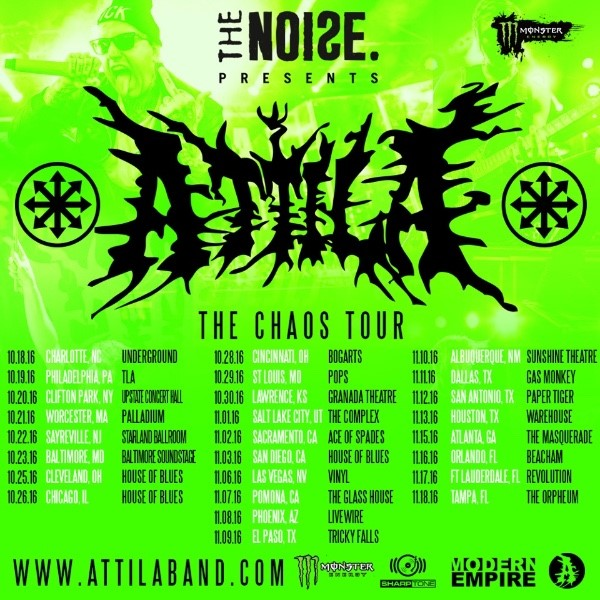 Tour - Attila - The Chaos Tour 2016